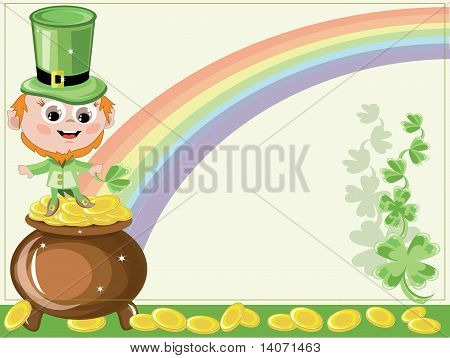 St patricks day,leprechaun and gold pot