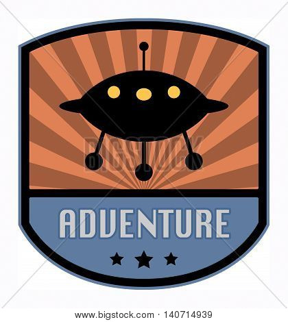 Space Adventure label or sign, vector illustration