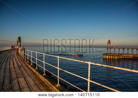 Pier at Whitby, Yorkshire, England the United Kingdom