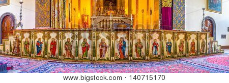 VAGHARSHAPAT ARMENIA - MAY 30 2016: The iconostasis of the Main Altar of Etchmiadzin Cathedral decorated the icons patterns and Carera marble on May 30 in Vagharshapat.