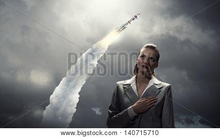 Woman making an oath . Mixed media