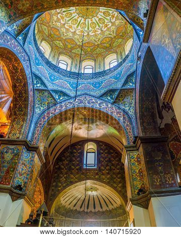 VAGHARSHAPAT ARMENIA - MAY 30 2016: The frescos with floral and geometric patterns decorate interior of Etchmiadzin Cathedral on May 30 in Vagharshapat.
