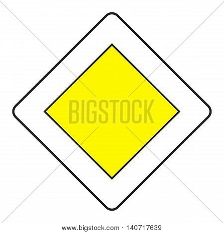 Traffic sign priority road isolated on white background. Vector illustration.