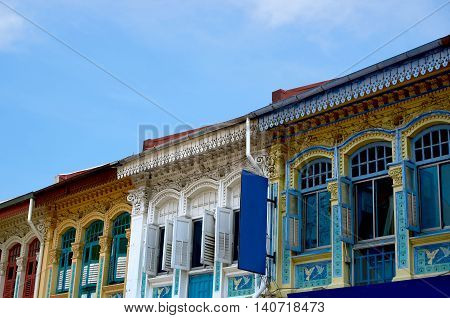 singapore, singapore - July 31, 2016: colorful heritage residential house at joo chiat road singapore