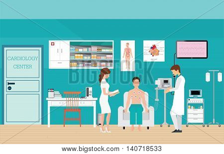ECG Test or The Cardiac Test cardiology center room interior with blood pressure monitor healthy and medical flat design vector illustration.