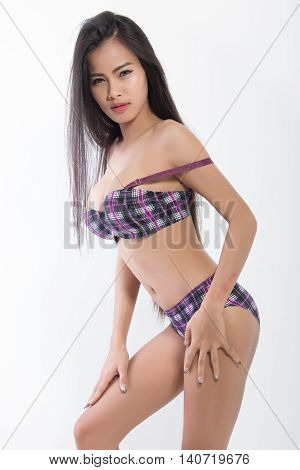 Beautiful Slim Body Of Asian Women In Studio, White Background