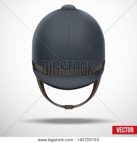 Background of Jockey helmet for horseriding athlete. Front view. Sport protection. Vector Illustration, eps10.