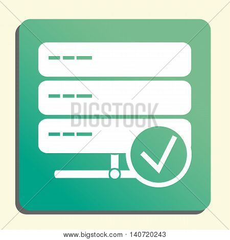 Server Accept Icon In Vector Format. Premium Quality Server Accept Symbol. Web Graphic Server Accept Sign On Green Light Background. poster