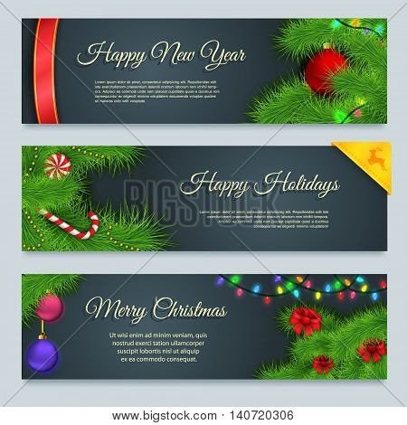 Set of winter New Year banners Merry Christmas banners Vector illustration