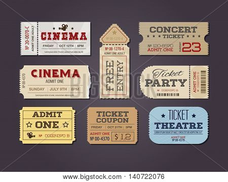 Theater and cinema Tickets & Coupons. A collection of vector Tickets