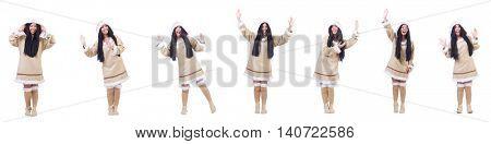 Eskimo woman isolated on the white
