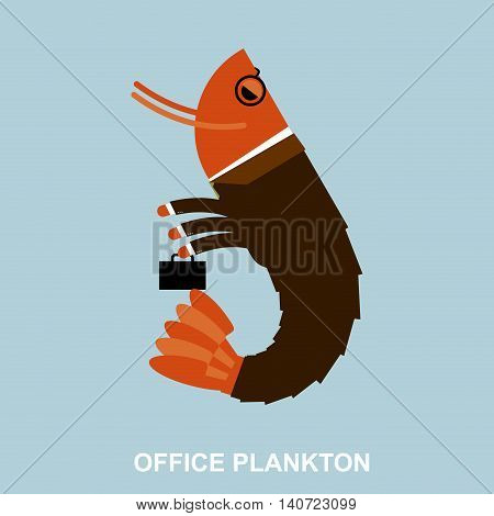 Office Plankton. Shrimp In Business Suit And Briefcase. Marine Animal Goes To Work In Service. Crust