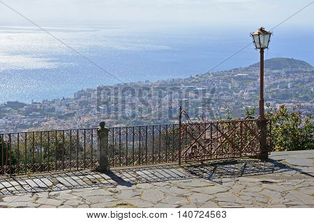 View of the city of Funchal and the Atlantic Ocean from Monte Madeira Portugal