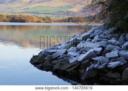 Frosty Rocks at Bassenthwaite near Keswick Cumbria