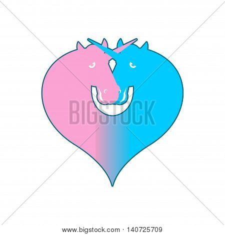 Unicorn Lgbt Symbol Community. Sign Of Love And Two Magic Animals. Heart And Magical Beast