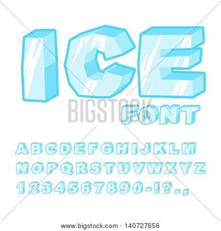 Ice Font. Cold Letters. Transparent Blue Alphabet. Frosty Alphabet. Frozen Lettering