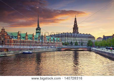 Copenhagen. Image of Copenhagen, Denmark during beautiful sunset.