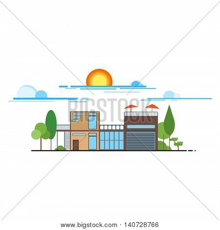 Flat design modern vector illustration icons set of urban landscape and city life. Buildings colorful icons flat design urban landscape illustration. City urban landscape architecture cityscape town.