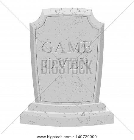 Game Over Tomb. Carved Stone End Of Game. Text Tombstone. Rip Old Cracked. Death Is End Of Life. Fin
