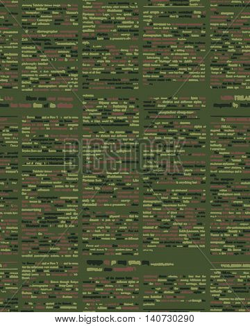Military texture. Soldier camouflage ornament. khaki green background. Geometric Army seamless pattern poster
