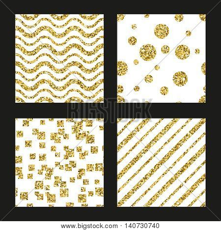 Glitter patterns set for save the date invitation or birthday cards. Card pattern dotted, spotted patter. Vector illustration