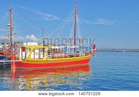 Harbor of Krk Town on Krk Island at adriatic Sea,Kvarner,Croatia