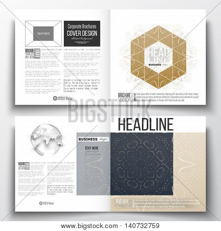 Set of annual report business templates for brochure, magazine, flyer or booklet. Polygonal backdrop with connecting dots and lines, golden background, connection structure. Digital or science vector