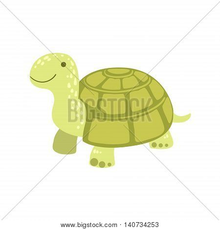 Tortoise Stylized Childish Drawing Isolated On White Background. Primitive Cartoon Style Illustration For Children In Flat Vector Design.
