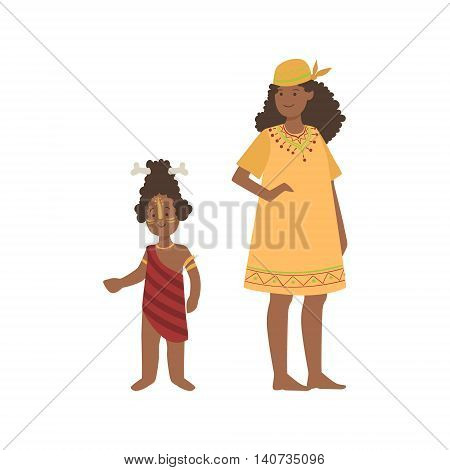 Woman And Boy With Bone In Hair From African Native Tribe Simplified Cartoon Style Flat Vector Illustration Isolated On White Background