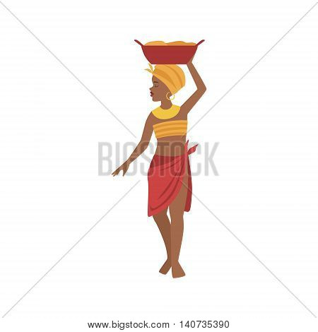 Woman With Basin On Head From African Native Tribe Simplified Cartoon Style Flat Vector Illustration Isolated On White Background