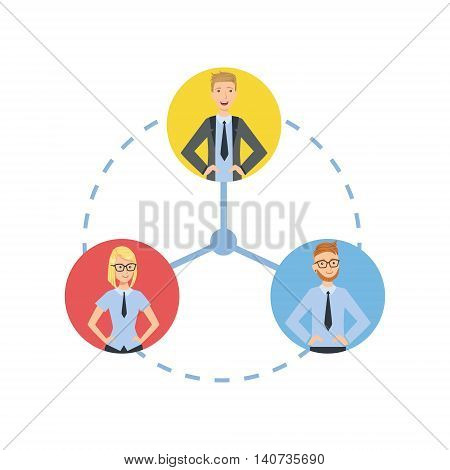 Time And Tusk Sharing Teamwork Simple Cartoon Style Illustration. Office Employees Working Together Cute Flat Vector Drawing.