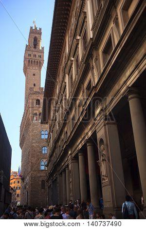 FLORENCE ITALY - JULY 12: The Uffizi Gallery on July 12 2016