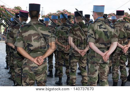 Military Men In A Parade During A Comemoration
