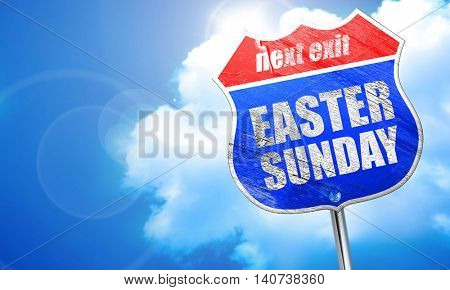 easter sunday, 3D rendering, blue street sign