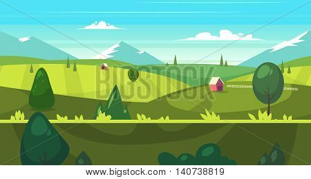 Seamless background for games apps or mobile development. Cartoon nature landscape with houses. Vector illustration for design graphics print or book . Stock illustration.