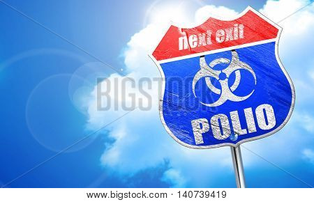 Polio concept background, 3D rendering, blue street sign