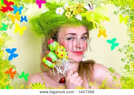 A Card Of Spring Girl With Easter Eggs In Her Hand