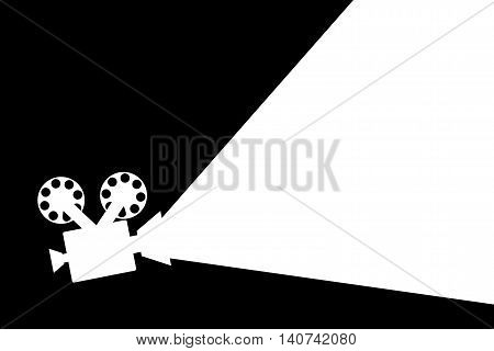Movie Projector Black And White Flat Design