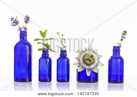 Bottle of essential oil with fresh herbs and spice in blue glass bottles herbs