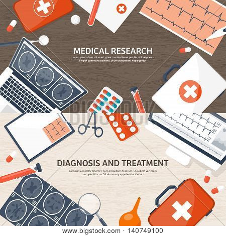 Medical flat background. Health care, first aid, research, cardiology. Medicine, study. Chemical engineering , pharmacy