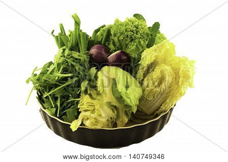 Still life with mixed vegetables isolated on white background