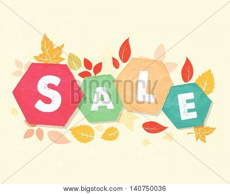 autumn sale with fall leaves, business seasonal shopping concept in colorful grunge drawn flat design hexagons labels, vector