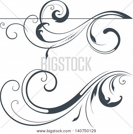 Vector swirl ornate motifs. Use for wedding invitations, royal certificates, greeting cards, menus, programs, covers, posters, brochures and flyers.