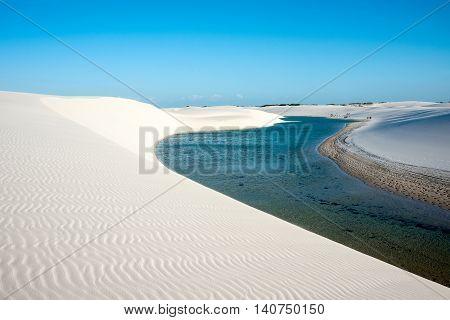 Lencois Maranhenses National Park Barreirinhas Brazil low flat flooded land overlaid with large discrete sand dunes with blue and green lagoons