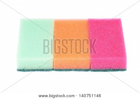 Colorful sponges isolated on a white background