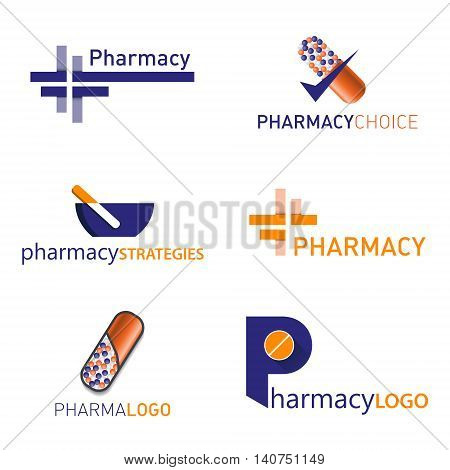 Medical logo icons set. Icons for medicine, healthcare, pharmacy. Easy editable for Your design
