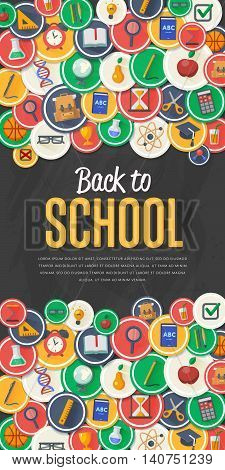 Back to school banner. School flat vector icons. Back to school lettering. Concepts for web banners. Back to school background. Arts and science stickers. Education concept. School symbols. Knowledge sign.