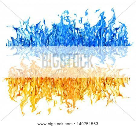 yellow and blue flame isolated on white background