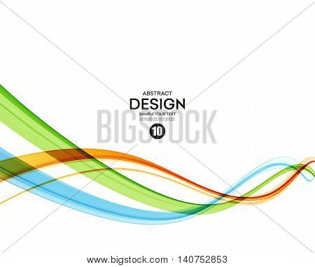 Colorful vector wavy lines. Abstract background. Green and orange smoke wave. Transparent waved lines