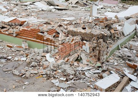 Closeup of House Destruction on outdoor background